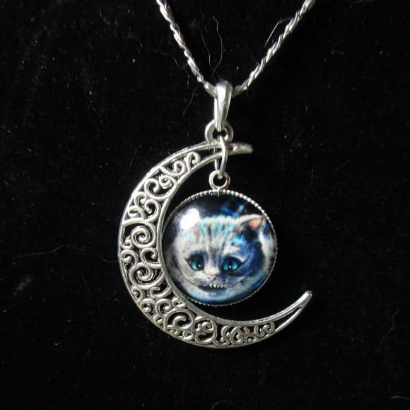 Jewelry cheshire cat filigree half moon pendant necklace poshmark cheshire cat filigree half moon pendant necklace aloadofball Images